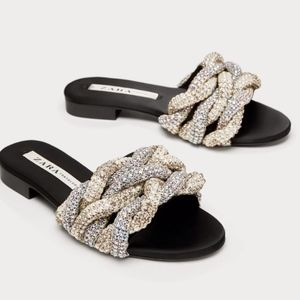 ZARA Braided Gem Encrusted Slides Sandals sz  7.5